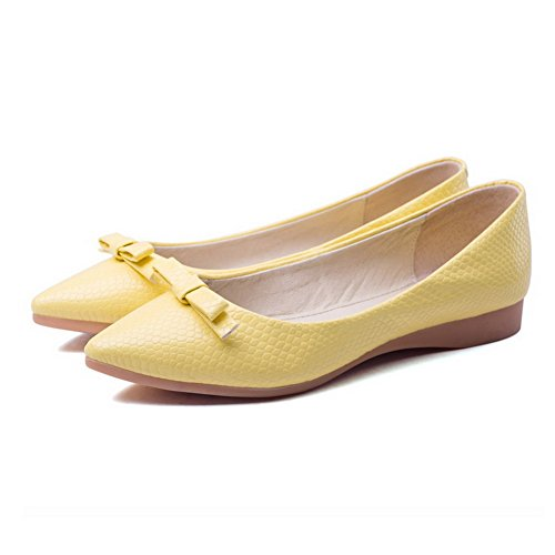 VogueZone009 Women's Pointed Closed Toe Pull-On PU Solid No Heel Flats Shoes Yellow 4GOft