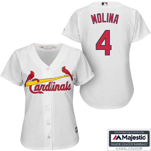 Yadier Molina White St. Louis Cardinals #4 MLB Women's Cool Base Home Jersey (Large)