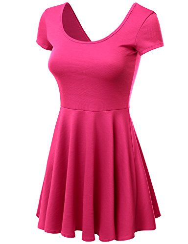 J.TOMSON Women's Basic Cap Sleeve Pleated A-line Dress with Scopp Neck and Back FUCHSIA XL