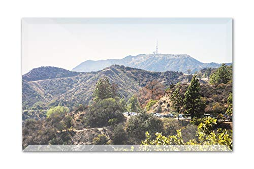 Mountain view with Hollywood Sign from the Griffith Observatory A-92271 (6x4 Acrylic Photo Block Gallery Quality) (Diamond Award Acrylic Beveled)