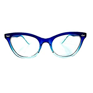 AStyles Vintage Inspired Half Tinted Frame Clear Lens Wayfarer Cat Eye Glasses (Blue-Clear, Clear)
