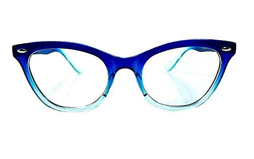 AStyles Vintage Inspired Half Tinted Frame Clear Lens Wayfarer Cat Eye Glasses (Blue-Clear, - Glass Blue Frames