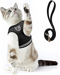 Cat Harness and Leash Set for Walking Escape Proof Small Cat and Dog Harness Soft Mesh Harness Adjustable Cat Vest Harness with Reflective Strap Comfort Fit for Pet Kitten Puppy Rabbit