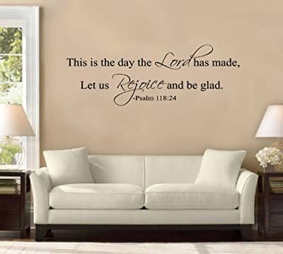 """31"""" This Is the Day the Lord Hath Made. Let Us Rejoice and Be Glad. Psalm 118:24 Large Wall Decal Sticker Christian Bible Verse Quote Home Decoration Decor"""