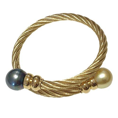 """Bracelet plaqué or """"Jonc Torsadé"""" avec Perles de Tahiti et Mers du Sud Ø12-13mm"""