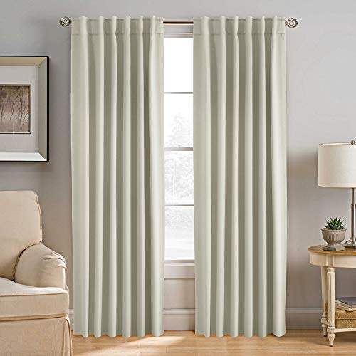 H.VERSAILTEX Blackout Curtains Room Darkening Drapes Thermal Insulated Solid Window Treatment Pair for Bedroom, Nursery, Living Room - 2 Panels, 52x84 Inch, 7 Back Loops Each Panel (Solid Cream)