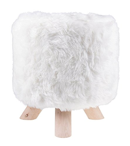 Premium White Ottoman with Faux Fur by Clever Creations | Round Foot Stool | Real Wood Legs | Stylish Trendy Décor | Perfect Size Stool for Any Room | Stands 12