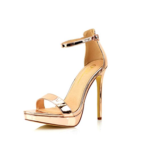 Sculpted Heel Platform Sandal (Women's Dress Sandal | Round Open Toe | One Band Thin Ankle Strap | Platform Stiletto Heel Sandals (7, Rose Gold))