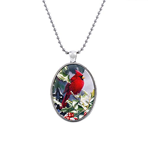 (Liavy's Red Cardinal Bird Charm Pendant Fashionable Glass Necklace - 18