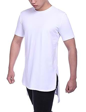 68433d39b Amazon.com: HEQU Men's Cotton Side Split Hipster Hip Hop Short ...