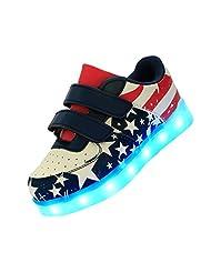 Merveilleux Kid Boy Girl LED Light Up Sport Shoes USB Charging Velcro Flashing Sneakers American Flag Shoes #K5