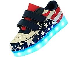 RIY American Flag Print Breathable Sneakers LED Light Up Shoes for Kids Boys Girls