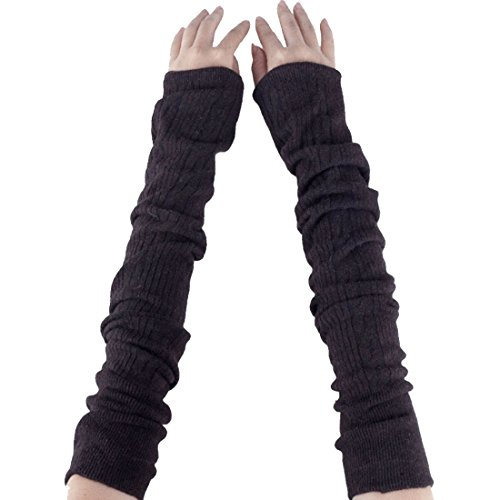 Lerben Women Knitted Crochet Long Soft Arm Warmer Fingerless Gloves Mittens