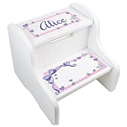 Personalized Lacey Bow White Step Stool