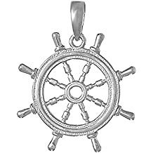 925 Sterling Silver Nautical Charm Pendant, 3D Ship Wheel with Cut-Out Center