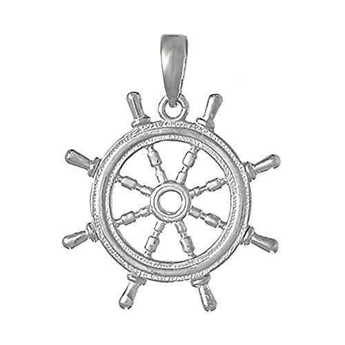 925 Sterling Silver Nautical Charm Pendant, 3-D Ship Wheel with Cut-Out Center