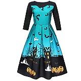 Muranba Clearance Women Halloween 3/4 Sleeve Party Swing Dress