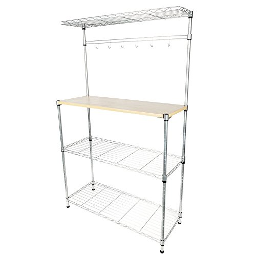 Globe House Products GHP Silver Carbon Steel Kitchen Baker's Rack Shelf with Cutting Board & 4 Hooks by Globe House Products
