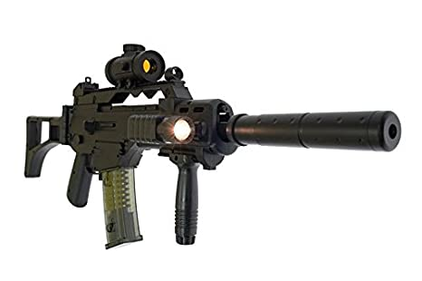 Double eagle Paquete Completo con Accesorios - Arma para Airsoft, Modelo M85/G36 Defense, 0,5 Julios, Color Negro, Modelo eléctrico