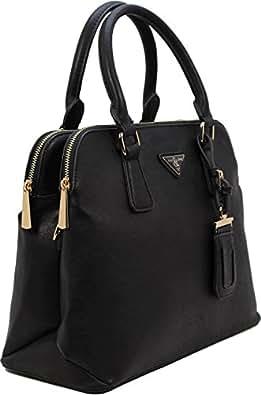 Vegan Faux Leather Double Top Zipper Dome Satchel Handbags (BLACK)