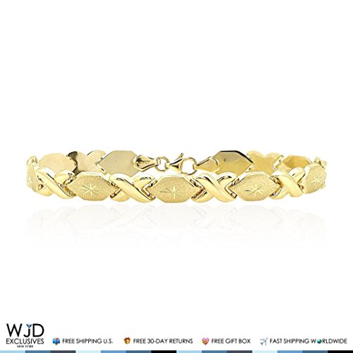 14k Yellow Gold Diamond Cut Hugs & Kisses XO Hollow Link 7mm Love Bracelet 7'' by WJD Exclusives