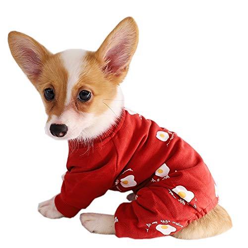 Kitipcoo Dog Jumpsuits for Small Dogs Poached Egg Printed, Small Dog Clothes Dog Pajamas DogApparel for Pug Bulldog Corgi Poodle