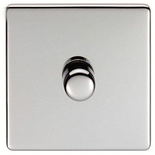 Eurolite, Screwless, Flat Plate, Polished Chrome, 1 Gang/Single Dimmer Light Switch. Matching Polished Chrome Knob and Black Trim by (Eurolite Single)