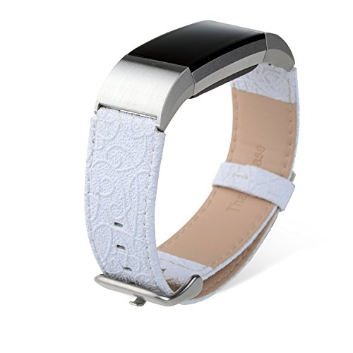 Fitbit Charge 2 band, Thankscase Genuine Leather Wrist strap Replacement with Top Quality Spring Bar and Embossed Pattern for 2016 Fitbit Charge 2 (Snow White)