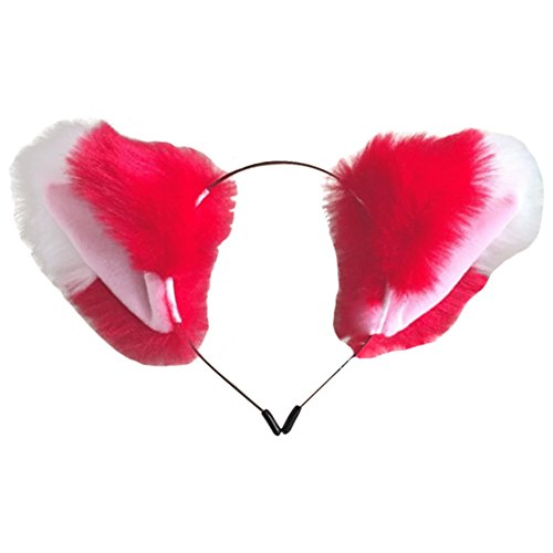 ACTLATI Cute Fox Ears Headband Faux Fur Cosplay Cocktail Party Girls Women Hair Band Fancy Dress Headwear Red and White - Red Fox It Adult Womens Costumes