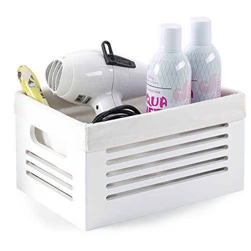 Wooden Storage Bin Container - Decorative Closet, Cabinet and Shelf Basket Organizer Lined With Machine Washable Soft Linen Fabric - White, Small - By Creative Scents