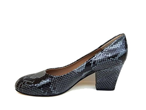 GENNIA XERRIE - Women´s Closed Toe Leather Pumps with Block Heel Leather Printed Boa Grey L5Kx8Z3dd