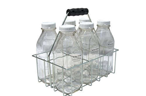 Wire Bottle Carrier for Libbey, StanPac, The Dairy Shoppe 32 oz bottles (32 oz Square Milk Bottles, 6 Cell Carrier)