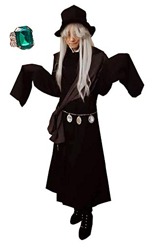 TOKYO-T Black Butler Cosplay Undertaker Costume With Ring Halloween Outfit (US:S, Asian:L) -
