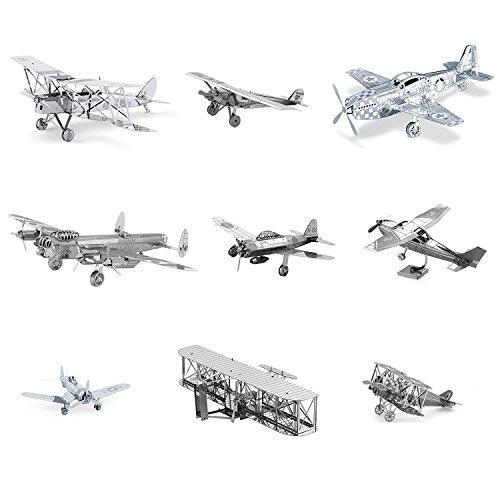 Metal Earth 3D Model Kits Set of 9 Planes: Spirit of St Louis - Wright Brothers - P-51 Mustang - Avro Lancaster Bomber - de Havilland Tiger Moth DH82 - Cessna Skyhawk - Mitsubishi Zero - Fokker D-VII - F4U Corsair