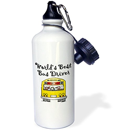 3dRose wb_193351_1 Worlds Best Bus Driver. - Sports Water Bottle, 21oz (Bus Picture Driver)