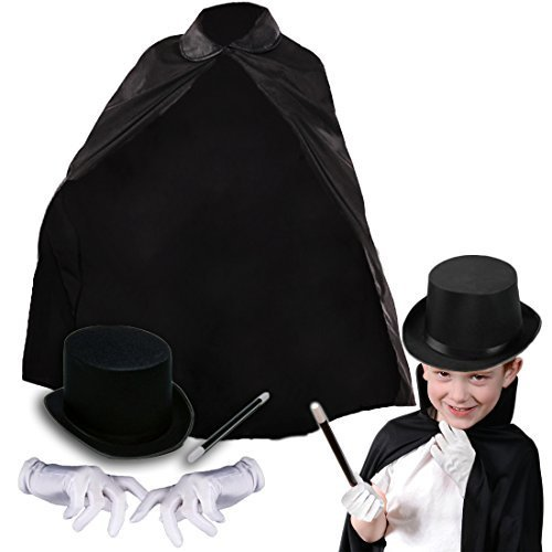 Magician's Assistant Costume (Deluxe Children's Magicians Kit with Black Cape Hat Magic Wand and White Gloves)