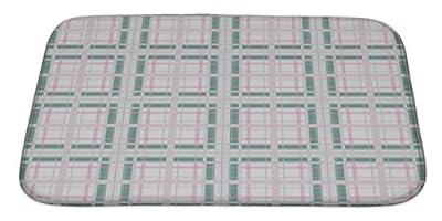 "Gear New No Slip Microfiber Memory Foam Retro Checkered Plaid Pattern Bath Rug Mat, 34"" X 21"""