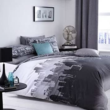city scape skyline king size duvet bed linen set - King Size Bed Sheets