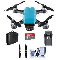 DJI Spark Mini Drone Sky Blue - Bundle With Quick-Release Folding Propellers, 32GB MIcro SDHC Card, Quick-Release Folding Propellers, Hard Case for Spark Mini Drone