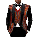 AGAING Men African Print 2pcs-Set Vest Blazer Classic Slim Fit Suit Jacket 8 4XL