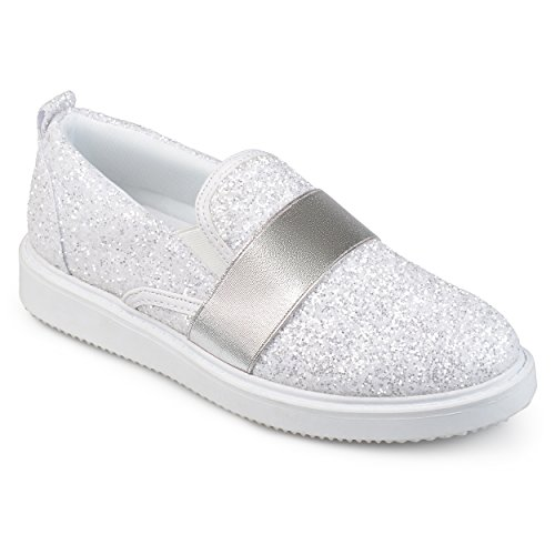 Journee Collection Mujeres Glitter Slip-on Sneakers Blanco