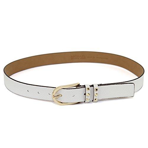 Kors Belt Studded Michael - Michael Kors Womens Pebbled Leather Studded Double Loop Belt - White (X-Large))