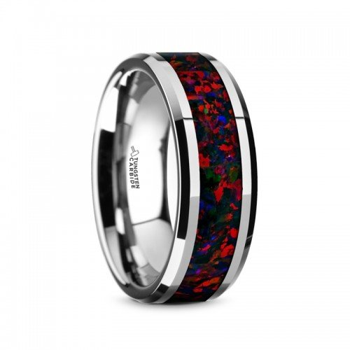 HALLEY Tungsten Carbide Black Opal Inlay Men's Wedding Band with Beveled Edges - 8mm ()