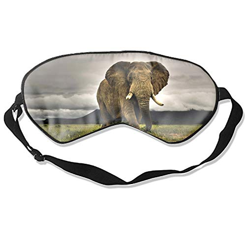 Elephants African Nature Grass Savannah Eye Mask for Sleeping Puffy Eyes, Travel, Meditation, Insomnia & Migraine. Soft Night Blindfold & Adjustable Band -
