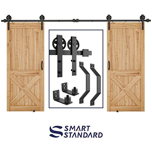 12ft Heavy Duty Double Gate Sliding Barn Door Hardware Kit, 12ft Double Rail, Black, (Whole Set Includes 2X Pull Handle Set & 2X Floor Guide & 1x Latch Lock) Fit 36