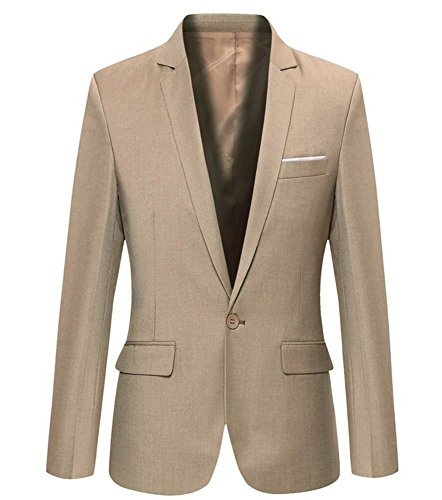 Khaki Sport Coat - Mens Slim Fit Casual One Button Blazer Jacket (L, 302Khaki)