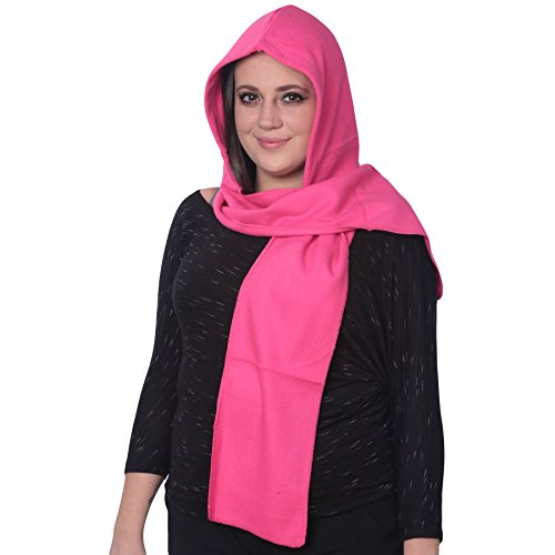 ABC Scarf Unisex-Adult Soft Hoodie Scarf Combination 2-in-1 to Be Warm, Ideal for Winter or Fall, Pink