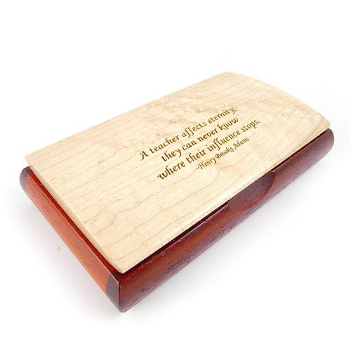 - Modern Artisans Handcrafted Wood Inspirational Gift Box with Quote - 'A Teacher Affects Eternity.'