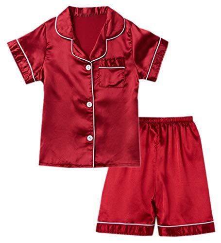 Little & Big Boys Girls Kids Satin Pajamas Set 2 Pieces PJS Short Sleeve Button-Down Top + Shorts Sleepwear Loungewear, Red, 3-4 Years = Tag 8
