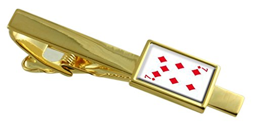 Select Gifts Diamond Playing Card Number 7 Gold-Tone Tie Clip Engraved Message Box